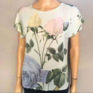 Ted Baker Marlana Rose Print T-Shirt Mint Green